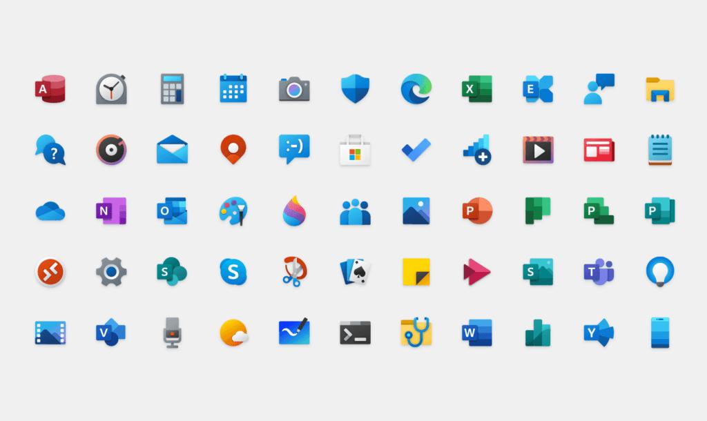 Nouveaux icônes de Microsoft Windows 10