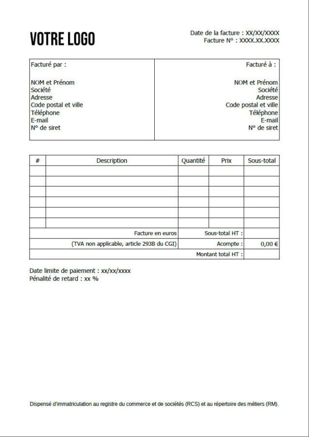 Exemple de facture pour une auto-entreprise