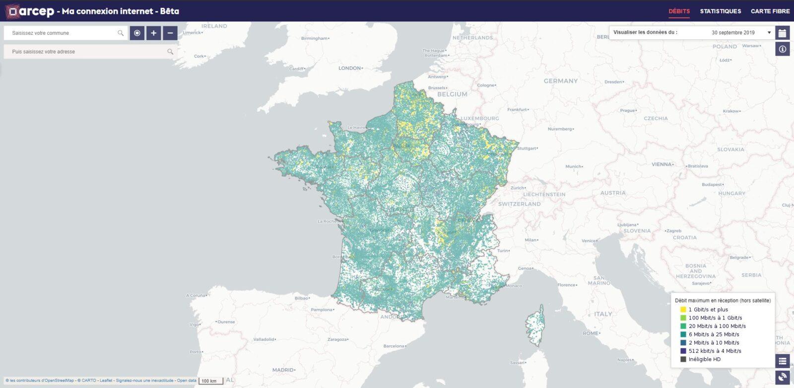 Arcep : carte des connexions internet