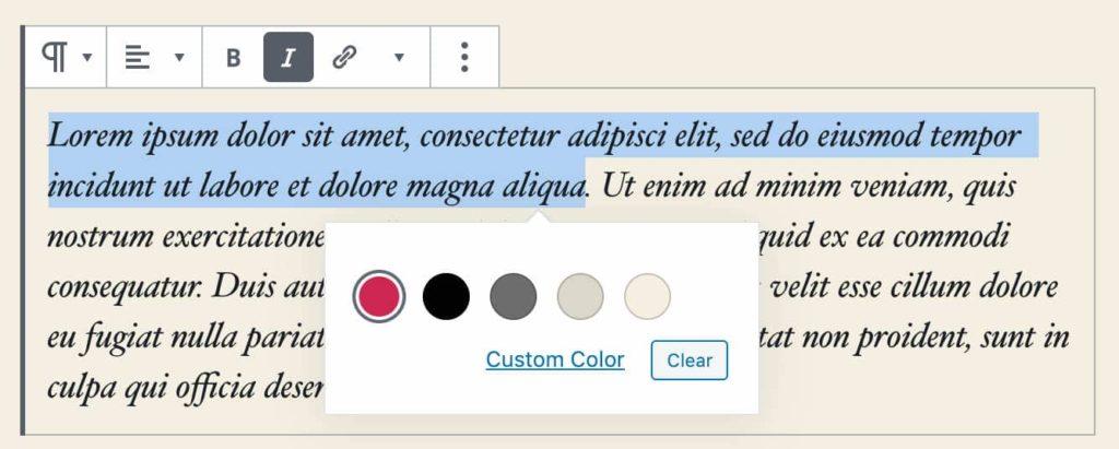 selecteur couleurs texte enrichi 02 camel design